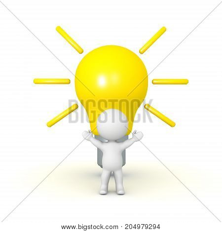 3D Character with a large bright light bulb behind him. Isolated on white.