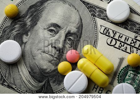 Medicine Pills Or Capsules, Vitamin With Money, Dollar. Medical Or Pharmacy Prescription For Health.