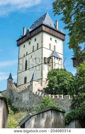 Karlstejn is a large gothic castle founded 1348 by Charles IV in Czech republic. Ancient architecture. Travel destination.