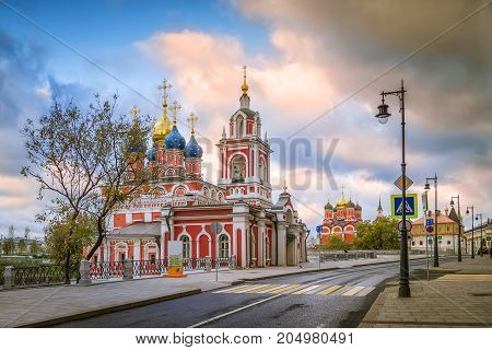 Morning view of the street Varvarka, St. George Church and the Church of St. John the Baptist