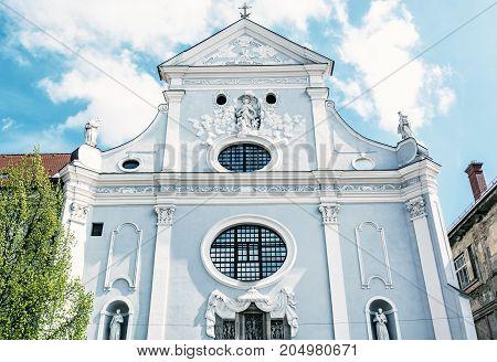 St. Anthony of Padua church Kosice Slovak republic. Religious architecture. Blue photo filter.