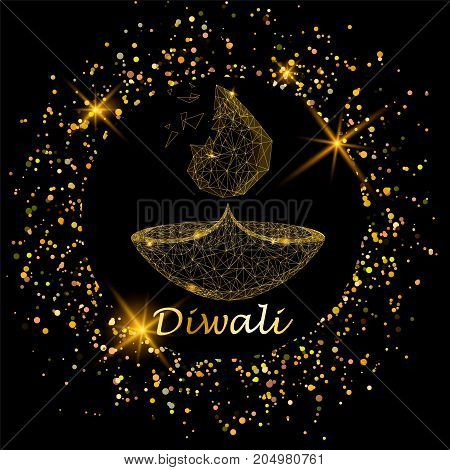 Happy diwali vector illustration. Deepavali light and fire festival. Gold colors polygonal art on black background