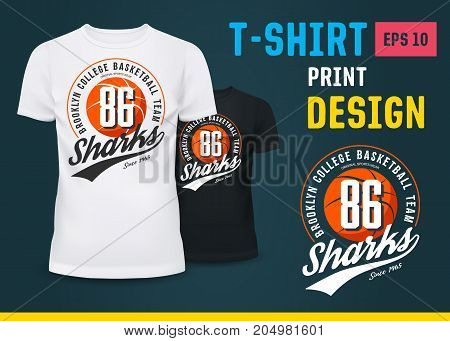 Sport t-shirt with basketball ball as print for new york college or urban team. Man or male U-neck shirts for sport fashion. Sportswear and clothing branding, fashion advertising theme