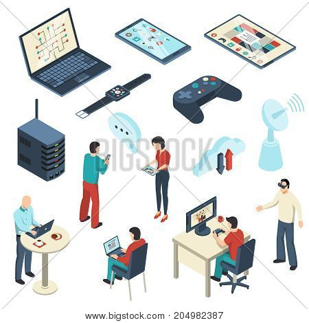 Internet of things isometric set including persons with electronic devices, cloud storage, satellite dish isolated vector illustration