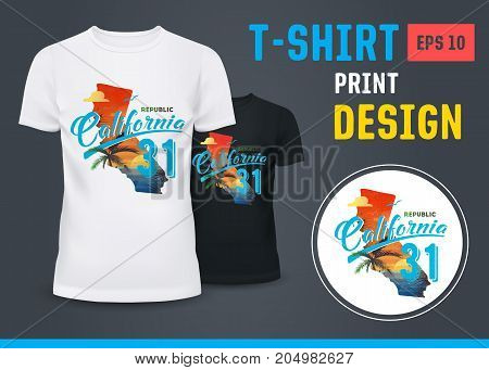 Beach with palm at sunset as a print on sport t-shirt. Holiday shirt for surfers at California USA. Summer cloth for seashore or ocean coast. Advertising and branding, u-neck clothing theme
