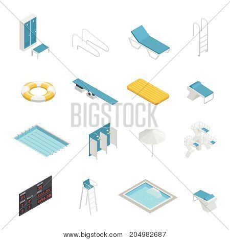 Swimming pool elements isometric icons set with change room locker closet shower life ring isometric vector illustration