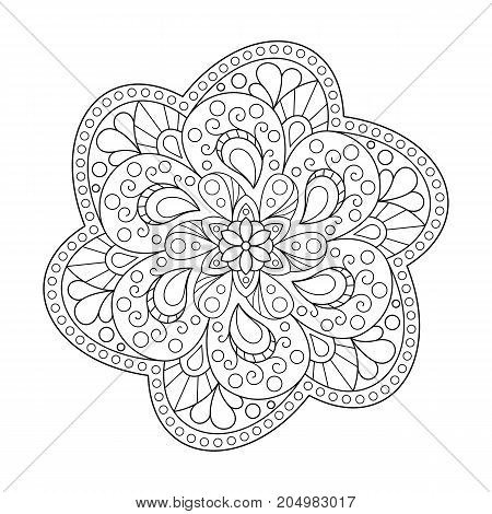 Uncolored Patterned Outline Mandala. Design Element Mandala of Page for Coloring Book.