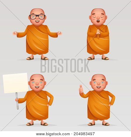 Buddhist cute monk traditional asian buddhist culture religion cartoon 3d realistic character icons design set vector illustration