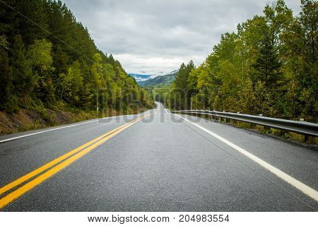 Highway in the mountains of Gaspe Quebec