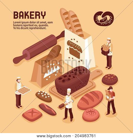 Bakery isometric concept with fresh bread bakers and delivery person 3d vector illustration