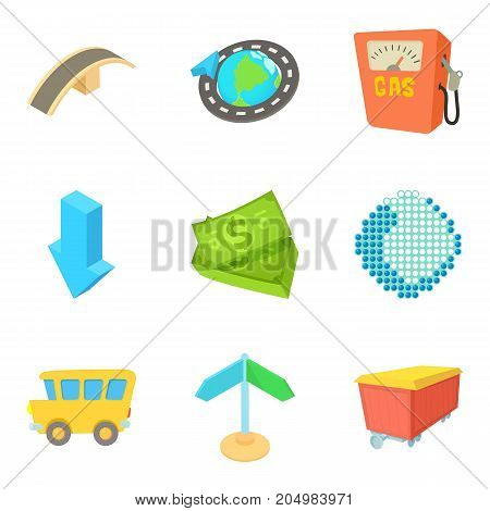 Fuel business icons set. Cartoon set of 9 fuel business vector icons for web isolated on white background