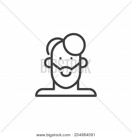 Man face line icon, outline vector sign, linear style pictogram isolated on white. Symbol, logo illustration. Editable stroke
