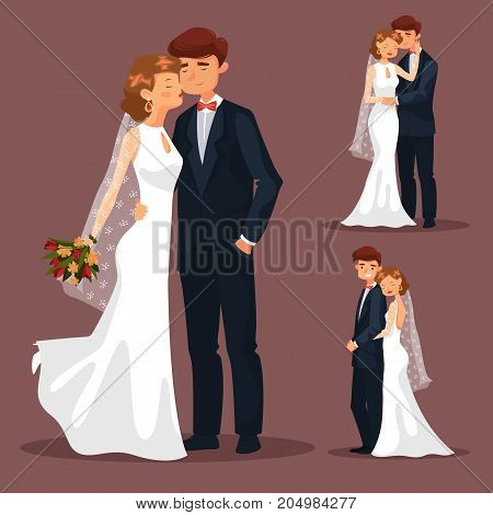 Set of isolated man and woman pair at wedding. Couple with flowers bouquet, husband and wife hugging at marriage, groom and bride at ceremony. People and engaging theme