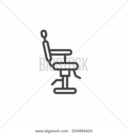 Barbershop chair line icon, outline vector sign, linear style pictogram isolated on white. Symbol, logo illustration. Editable stroke