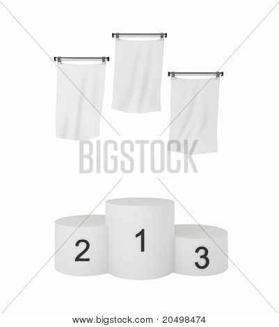 Podium, Winners, With Blank Flags, Isolated On White, With Clipping Path