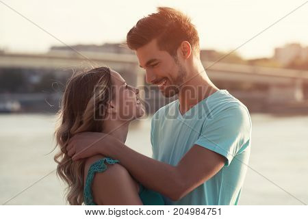 Young beautiful couple enjoy spending time together.