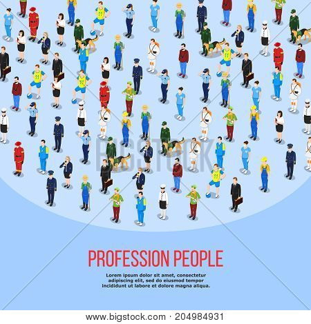 People background isometric composition of human characters in uniform representing different professions with editable text description vector illustration