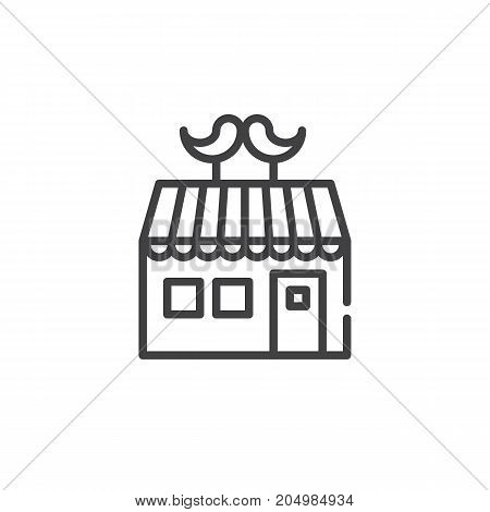 Barber shop line icon, outline vector sign, linear style pictogram isolated on white. Symbol, logo illustration. Editable stroke