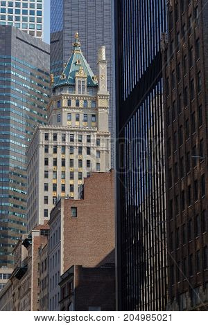 New York City, Usa, September 10, 2017 : Old And New Skyscrapers. Manhattan Is The Most Densely Popu