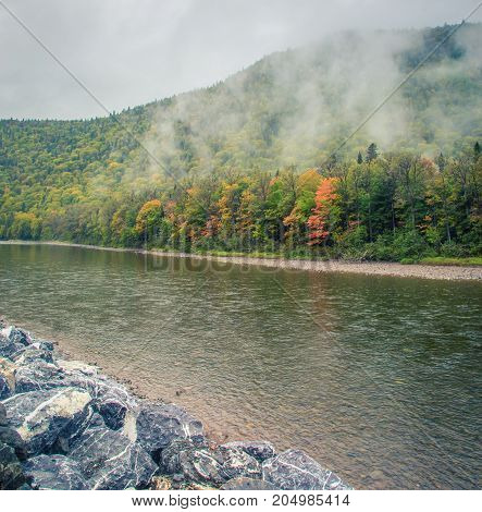Fog and a river in Gaspe Quebec