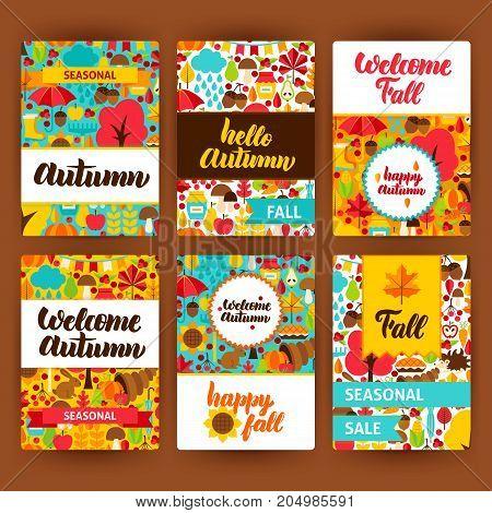 Autumn Label Set. Vector Illustration of Fall Seasonal Concept. Printable Badge Design.