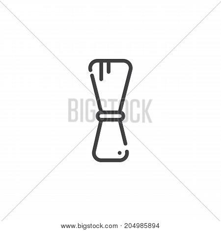 Shaving brush line icon, outline vector sign, linear style pictogram isolated on white. Symbol, logo illustration. Editable stroke
