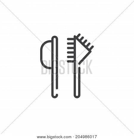 Hairbrush line icon, outline vector sign, linear style pictogram isolated on white. Symbol, logo illustration. Editable stroke
