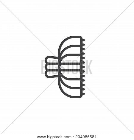 Hair clip line icon, outline vector sign, linear style pictogram isolated on white. Symbol, logo illustration. Editable stroke