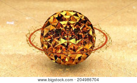 Gold Jewel Planet With Ring Plexus Conections 3D Rendering