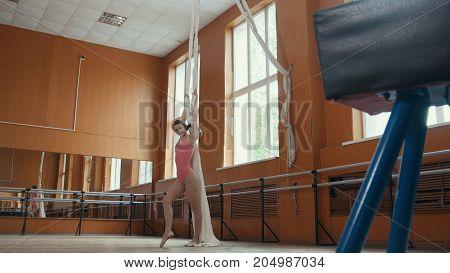 Portrait of a graceful girl ballerina practicing in the studio, telephoto