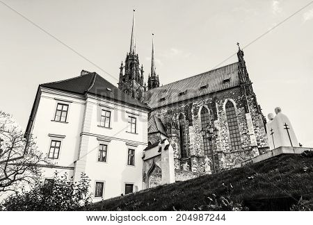 Famous Cathedral of St. Peter and Paul Brno Moravia Czech republic. Travel destination. Religious architecture. Black and white photo.