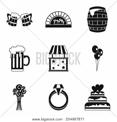 Paradise holiday icons set. Simple set of 9 paradise holiday vector icons for web isolated on white background