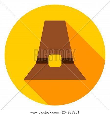 Pilgrim Hat Circle Icon. Vector Illustration. Thanksgiving Fall Holiday.