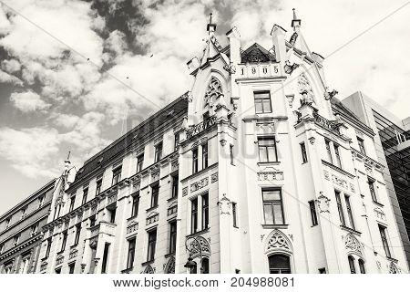 Historic building in the center of Brno Moravia Czech republic. Architectural scene. Travel destination. Black and white photo.