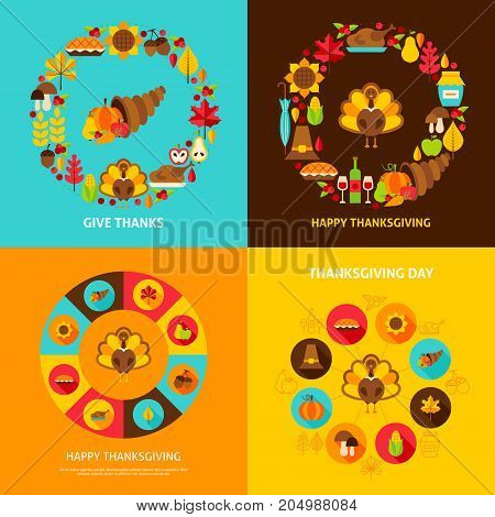 Thanksgiving Concept Set. Stock Vector Illustration. Fall Holiday Posters.
