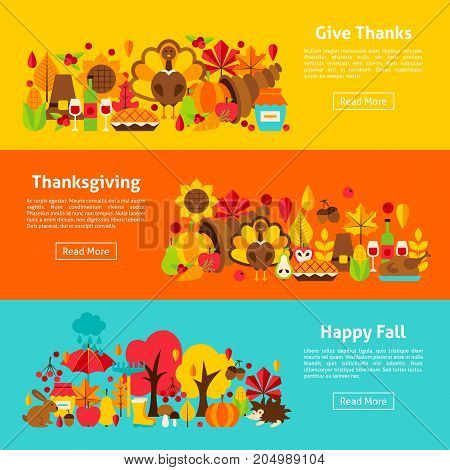 Thanksgiving Web Horizontal Banners. Vector Illustration of Autumn Concept.