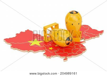 Chinese map with nuclear weapon concept 3D rendering