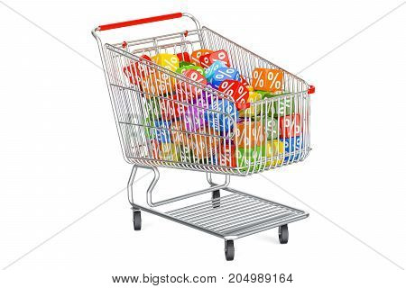 Discount concept with shopping cart. 3D rendering isolated on white background