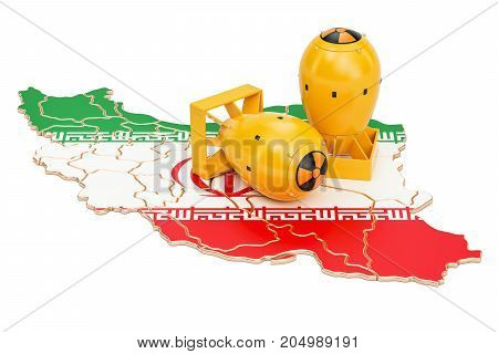Iranian map with nuclear weapon concept 3D rendering