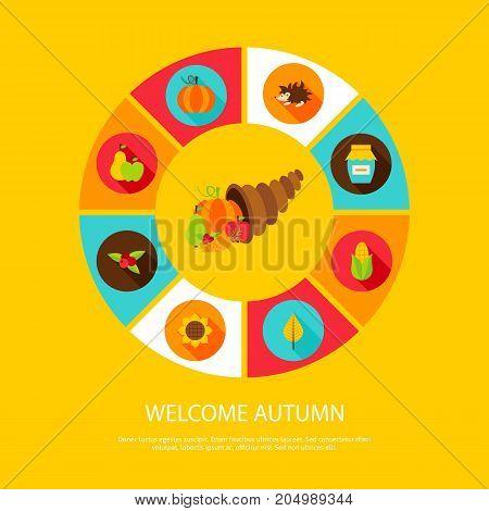 Welcome Autumn Concept. Stock Vector Fall Illustration. Seasonal Infographics.