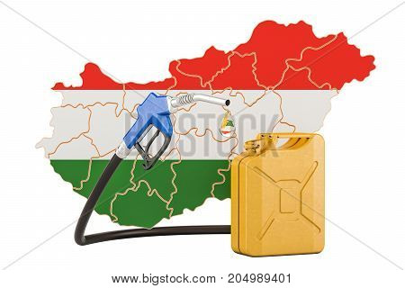 Production and trade of petrol in Hungary concept. 3D rendering isolated on white background
