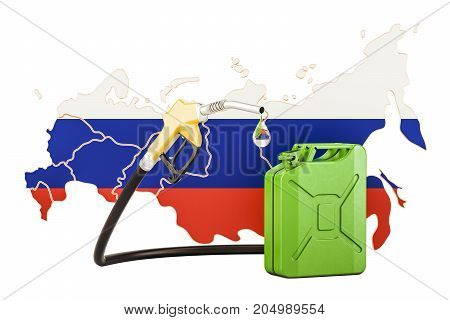 Production and trade of petrol in Russia concept. 3D rendering isolated on white background