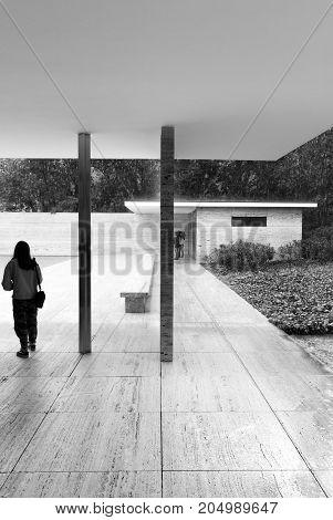 BARCELONA - APRIL 1, 2017: Barcelona Pavilion designed by Mies Van Der Rohe