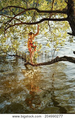a young girl stands on a branch of a tree over the water of a river and splashes her foot