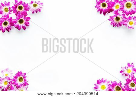 Floral pattern on white background top view.