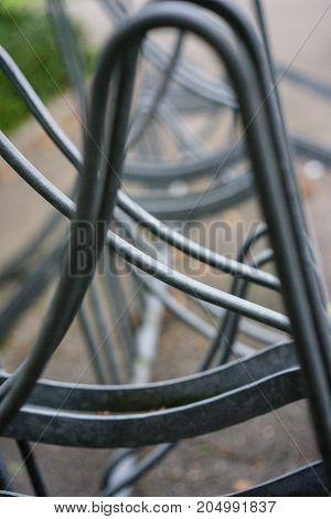 abstract metal construction bicycle stand iron close up iron structure