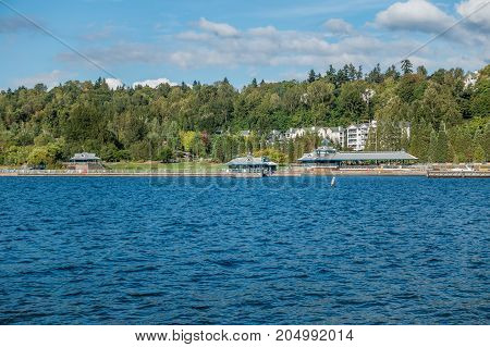 A view of the pavilion at Gene Coulon Park in Renton Washington.