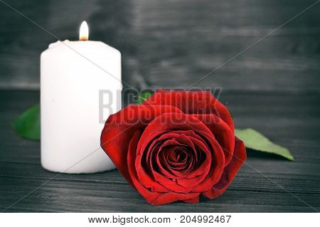 Memorial candle and rose on wooden background