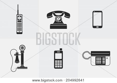 Vector set of phone icons in black silhouette