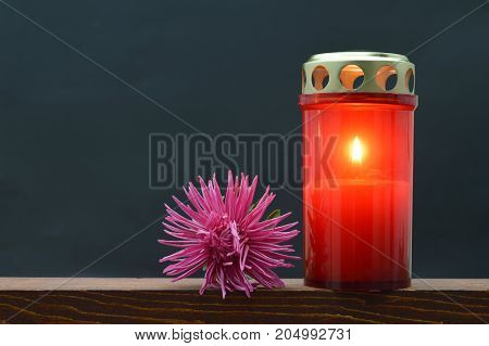 Memorial candle and flower on dark background